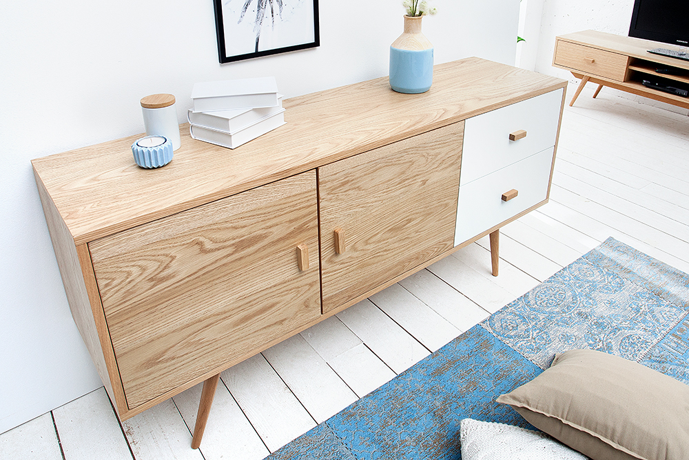 stylisches echt eiche sideboard hygge 150cm skandinavisches design anrichte ebay. Black Bedroom Furniture Sets. Home Design Ideas