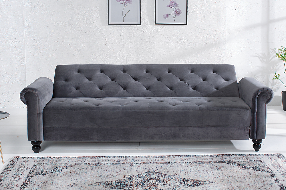 design sofa maison belle affaire 225cm grau couch schlaffunktion chesterfield ebay. Black Bedroom Furniture Sets. Home Design Ideas