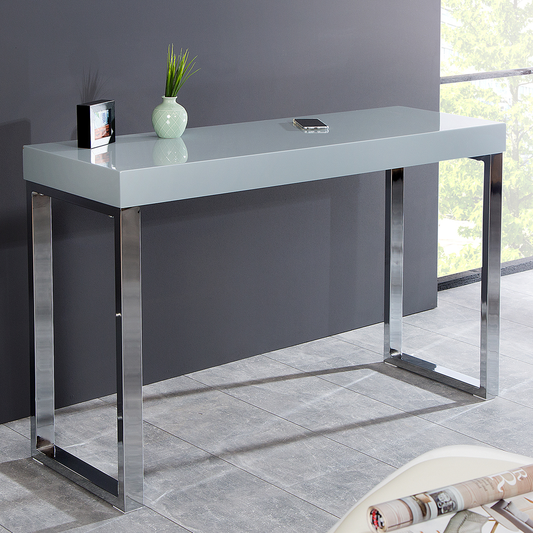 Design laptoptisch grey desk 120cm hochglanz grau ebay for Design laptoptisch