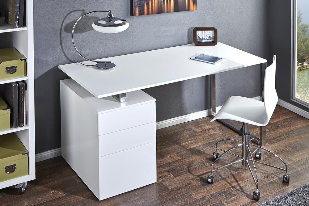 schreibtisch compact 160 cm hochglanz weiss b rotisch tische b ro schubladen ebay. Black Bedroom Furniture Sets. Home Design Ideas