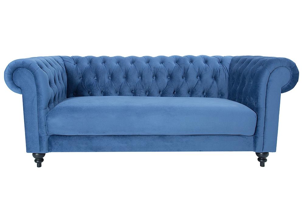 design sofa chesterfield 200cm blau mit ziersteppung samt 2 sitzer couch ebay. Black Bedroom Furniture Sets. Home Design Ideas