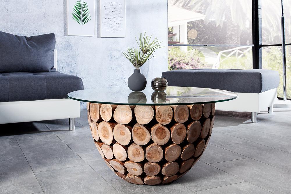 Teak Holz Couchtisch PURE NATURE 70cm Rund Glastisch