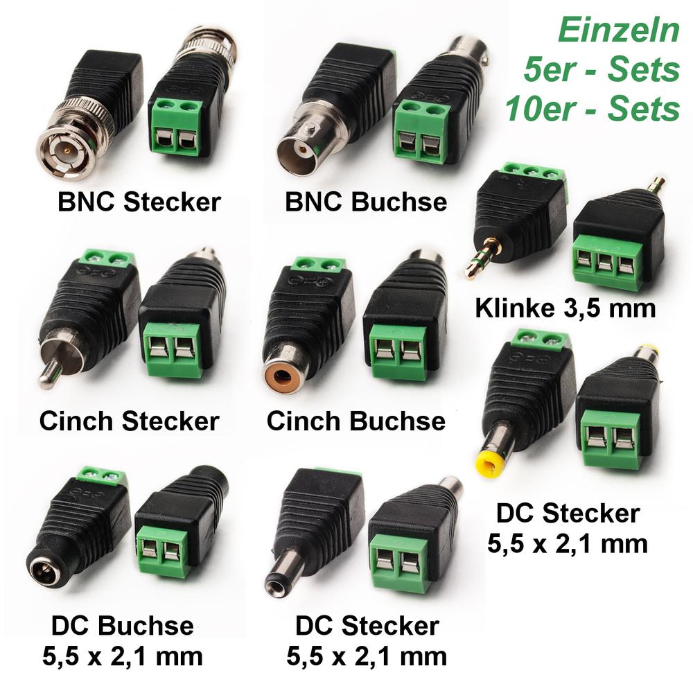 dc bnc cinch klinke steckverbinder stecker buchse adapter. Black Bedroom Furniture Sets. Home Design Ideas