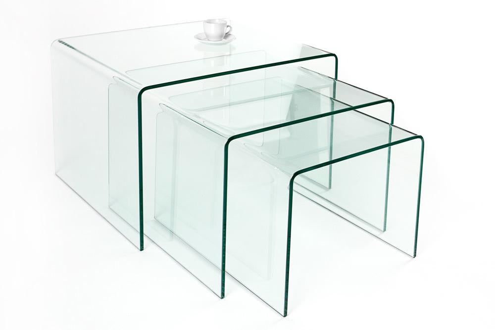 3er set glas couchtisch ghost 60cm beistelltische transparent glastisch tische ebay. Black Bedroom Furniture Sets. Home Design Ideas
