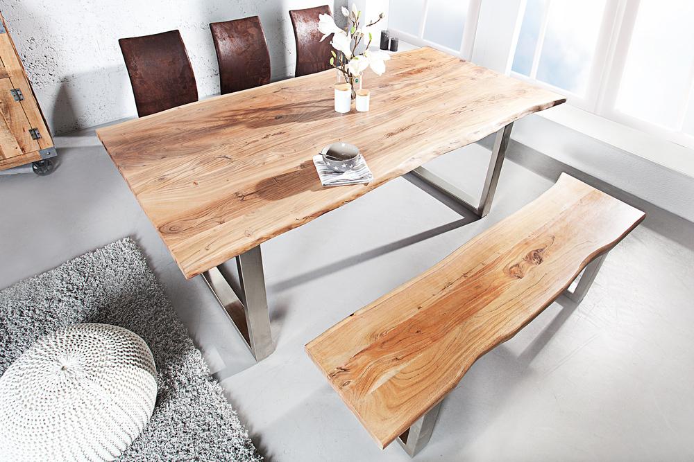 massiver baumstamm tisch mammut esstisch tische massivholz holztisch akazie ebay. Black Bedroom Furniture Sets. Home Design Ideas