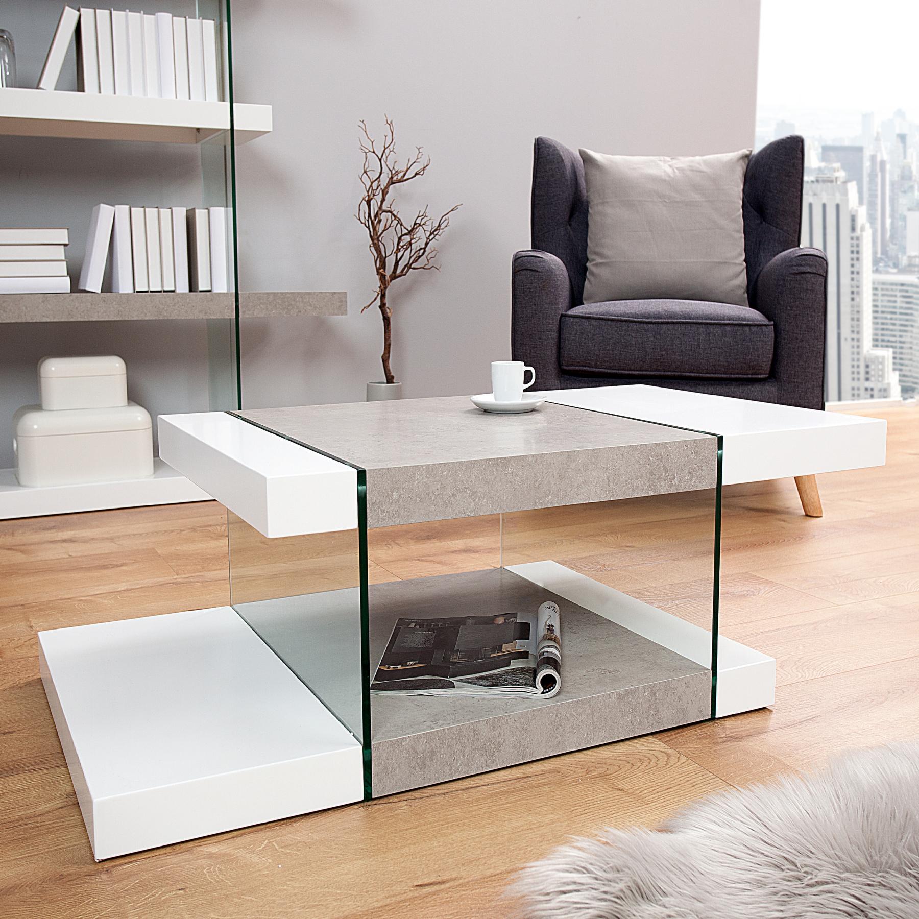 design couchtisch onyx 110 cm edelmatt wei beton optik beistelltisch tisch ebay. Black Bedroom Furniture Sets. Home Design Ideas