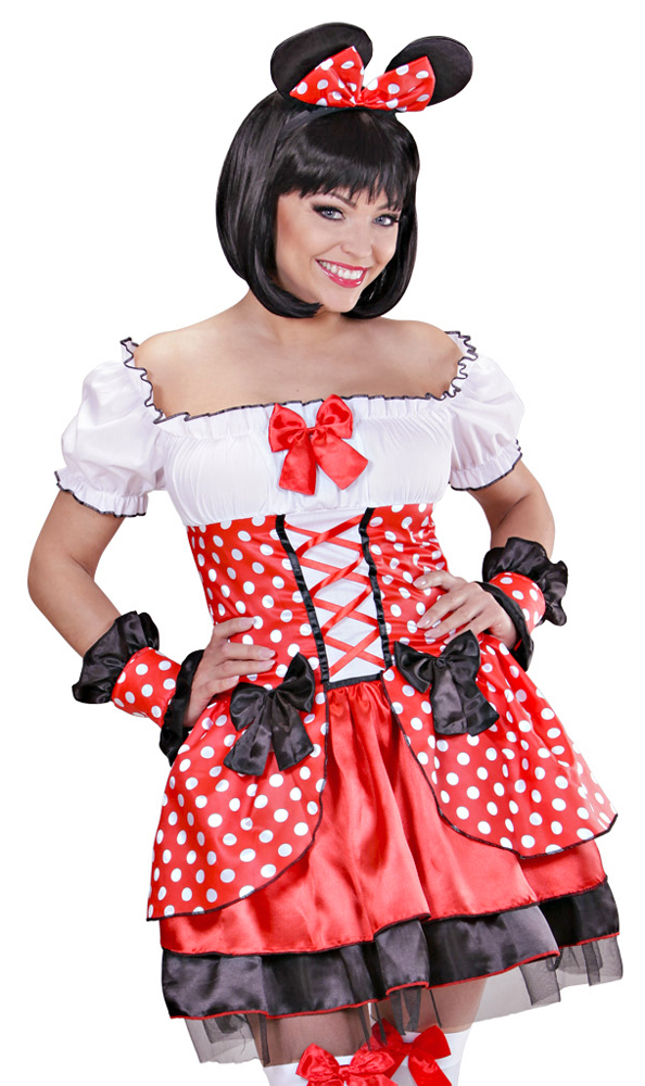kost m sexy minnie maus damen kleid ohren karneval comic film party verkleidung ebay. Black Bedroom Furniture Sets. Home Design Ideas