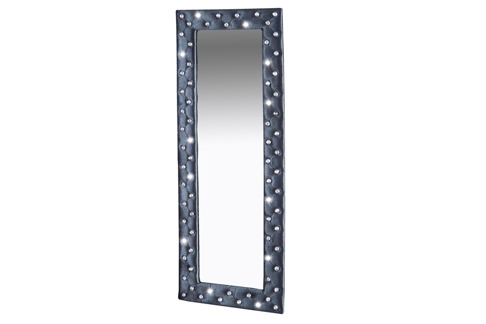 Spiegel An Wand Befestigen ~ Großer Wandspiegel BOUTIQUE 170×60 silbergrau Samt mit Strassknöpfen