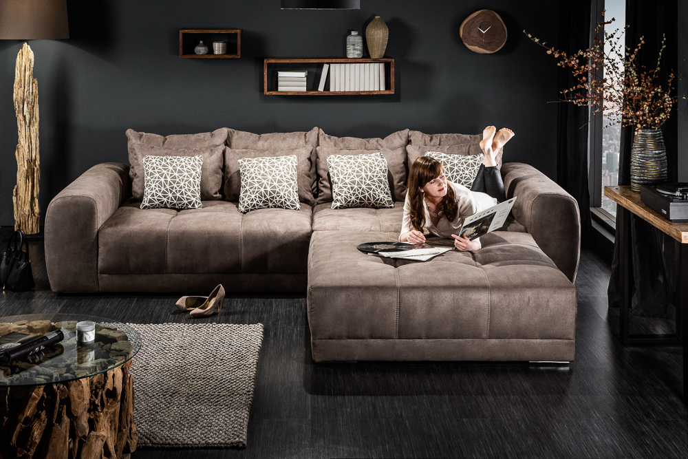 Modernes XXL Sofa GIANT LOUNGE 300cm taupe inkl. Kissen ...
