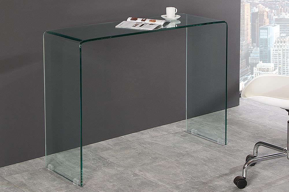 Schreibtisch extravagant  Details zu Extravaganter Glas Konsolentisch FANTOME 100cm transparent  Schreibtisch Tische