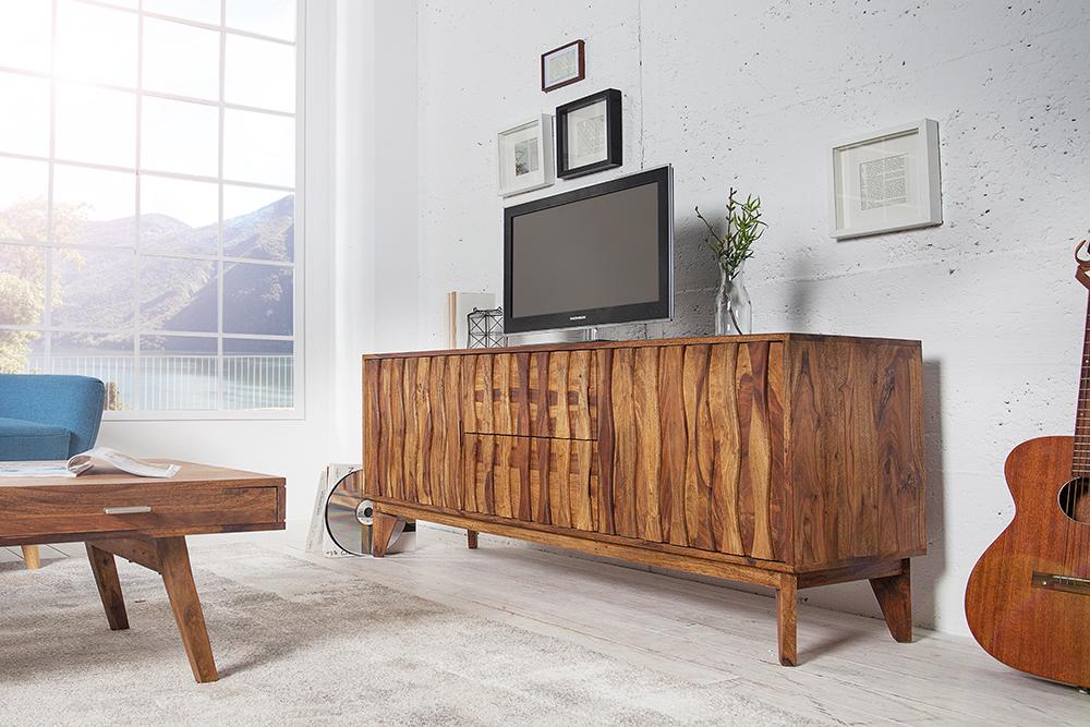 sideboard retro 160cm sheesham massivholz board kommode schrank schublade ebay. Black Bedroom Furniture Sets. Home Design Ideas