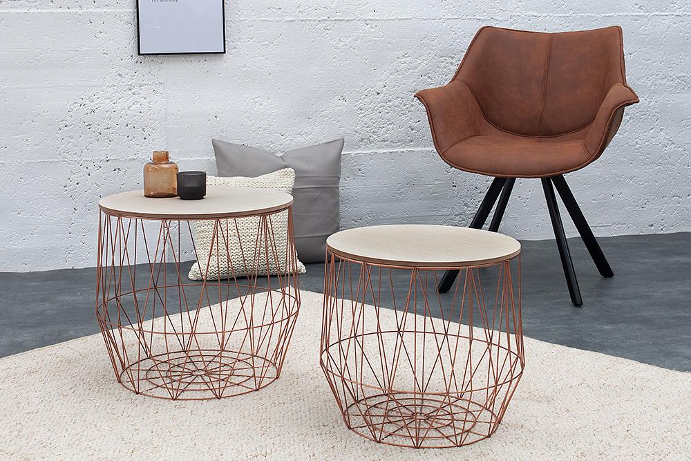2er set couchtisch beistelltisch storage kupfer aufbewahrungsfach eiche ablage ebay. Black Bedroom Furniture Sets. Home Design Ideas
