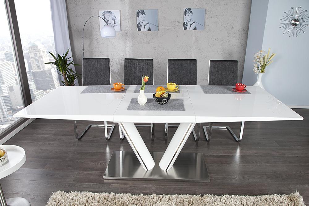 Design Esstisch VALENCIA weiss ausziehbar 160 220cm