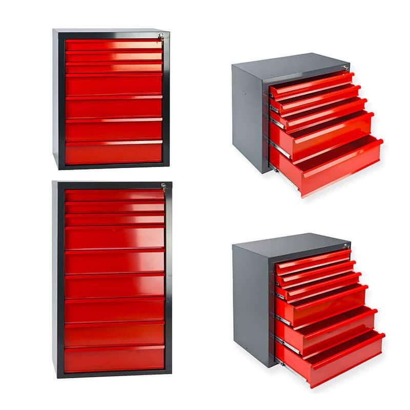Schubladenschrank Schubladen 70x43.5x60 cm rot Werkzeugschrank 5 Schubladen NEU