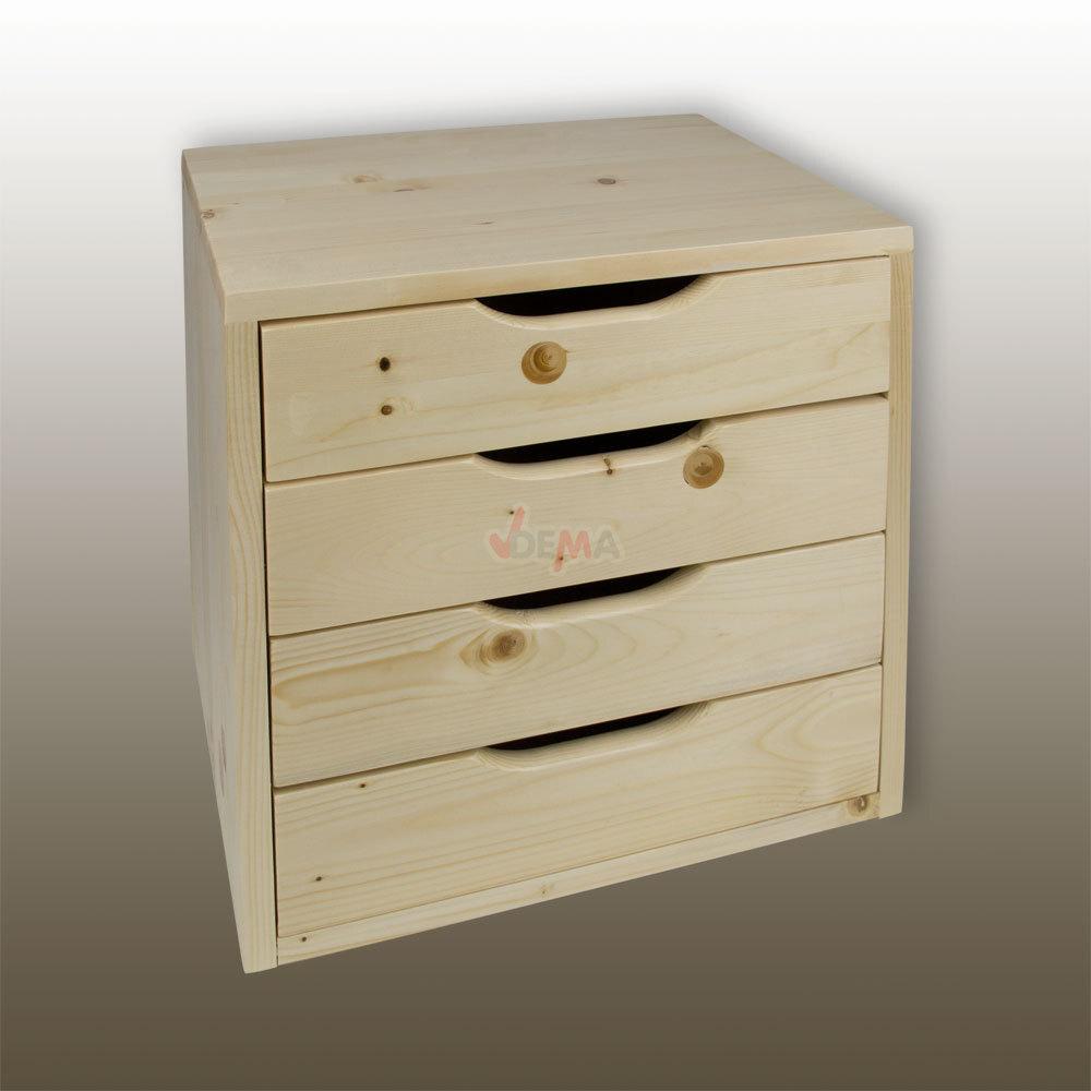 holz schubladenbox holzbox aufbewahrungsbox schubladenschrank mit 4 schubladen 4031765405379 ebay. Black Bedroom Furniture Sets. Home Design Ideas