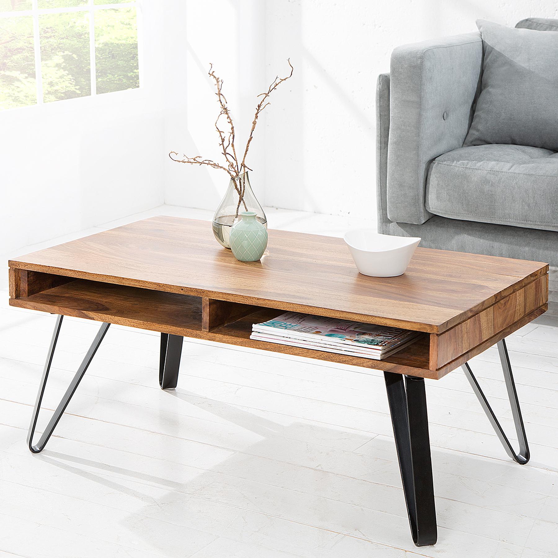 couchtisch retro sheesham 100cm metallbeine stone finish ebay. Black Bedroom Furniture Sets. Home Design Ideas