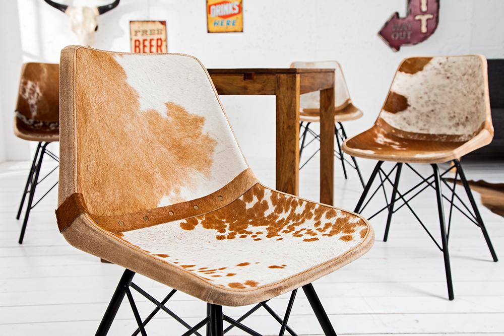 Design Stuhl TORO hochwertiges Kuhfell FARBWAHL Lehnstuhl