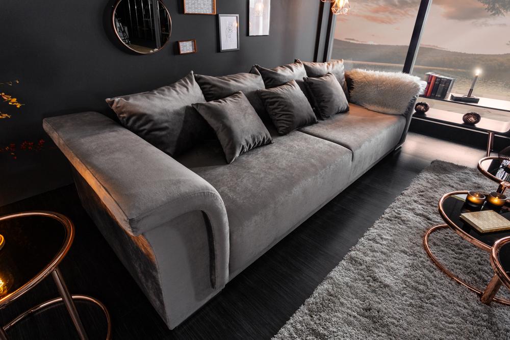 Elegantes Big XL Sofa BELLINA Hellgrau Samt Schlaffunktion
