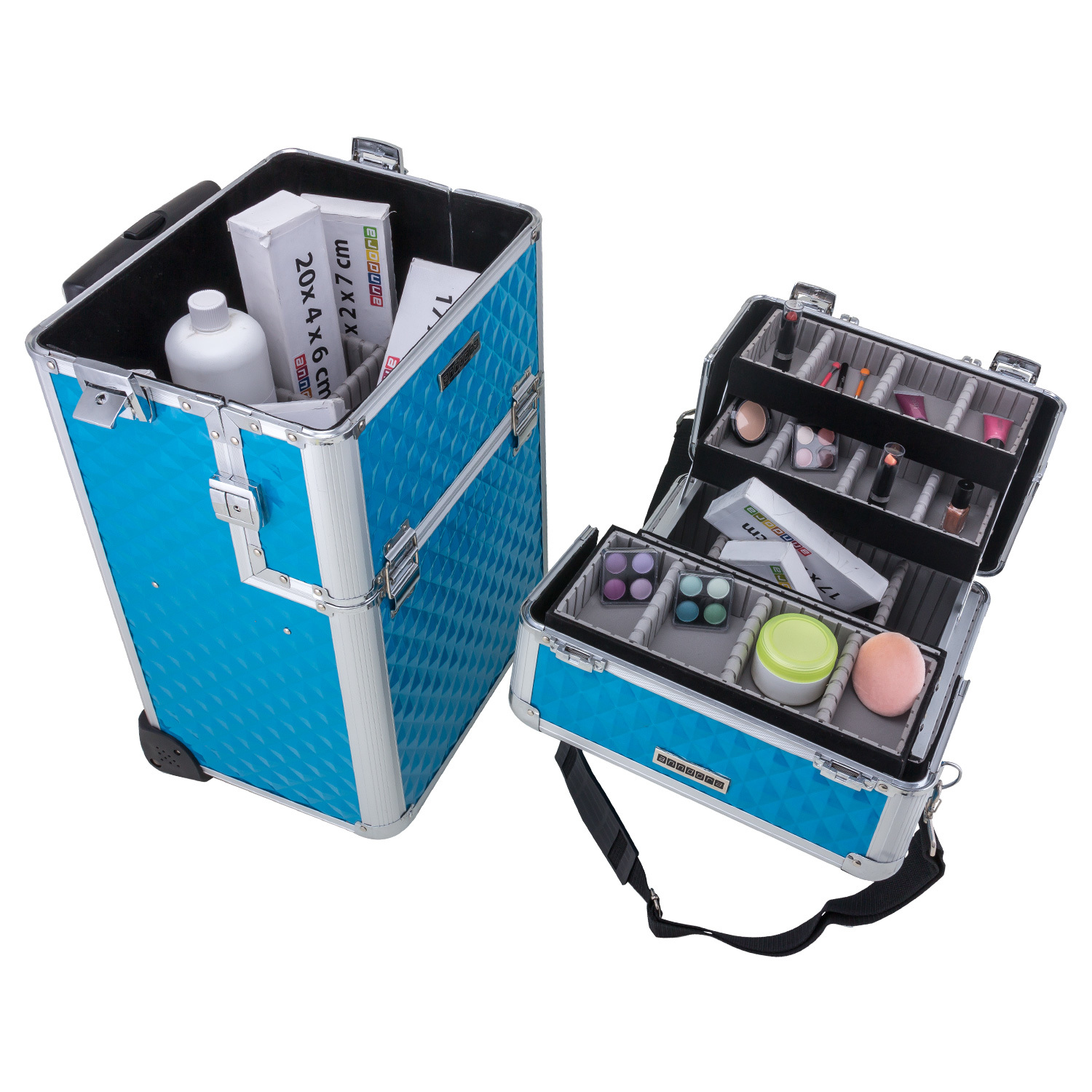 Tool Beauty Case Make-up Koffer Trolley 2 Räder Werkzeugtrolley Friseurkoffer Make-up