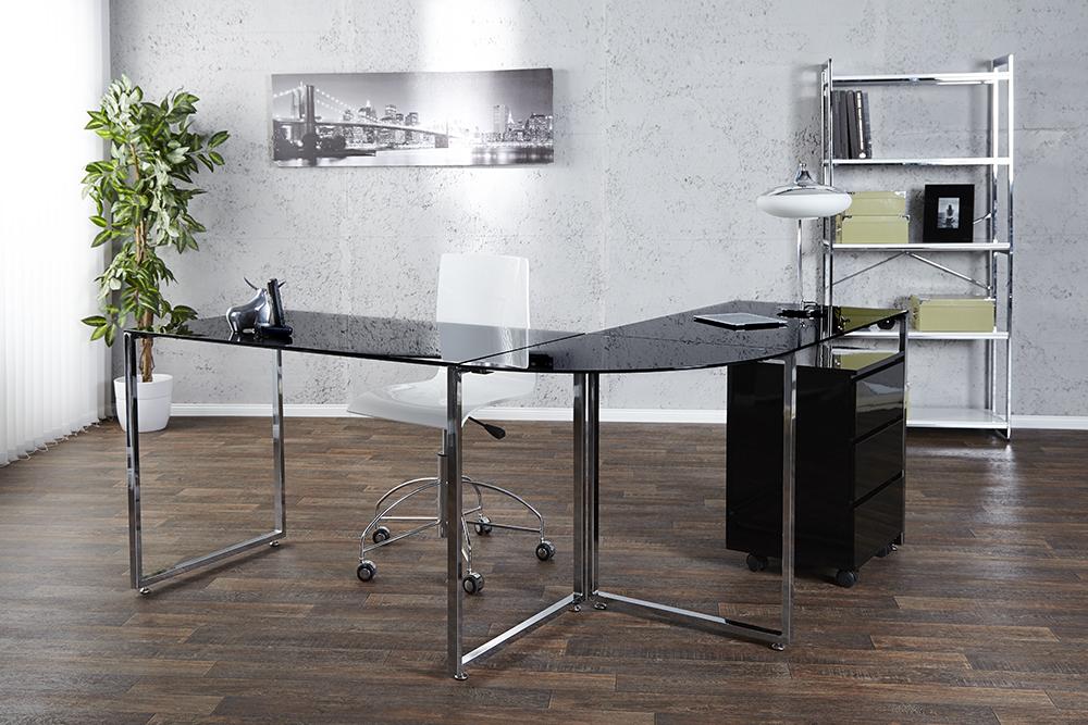 design eck schreibtisch studio glas schwarz schreibtisch tisch b rotisch b ro ebay. Black Bedroom Furniture Sets. Home Design Ideas