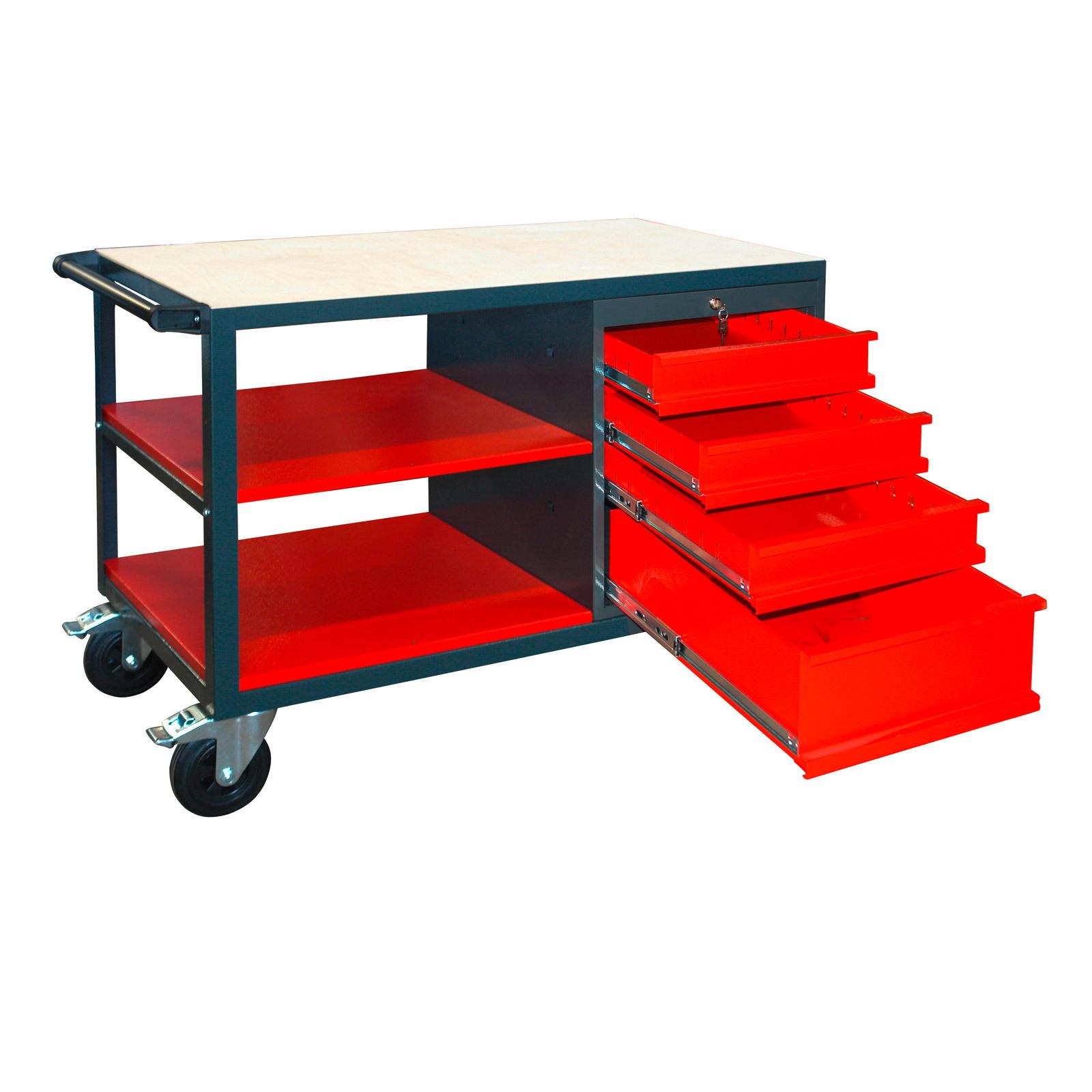 werkbank werktisch arbeitstisch werkstattwagen mit rollen 4 schubladen ablage 4031765409193 ebay. Black Bedroom Furniture Sets. Home Design Ideas