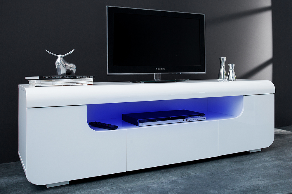 Tv Lowboard Cube Ambience Hochglanz Weiss Led Beleuchtung Tv