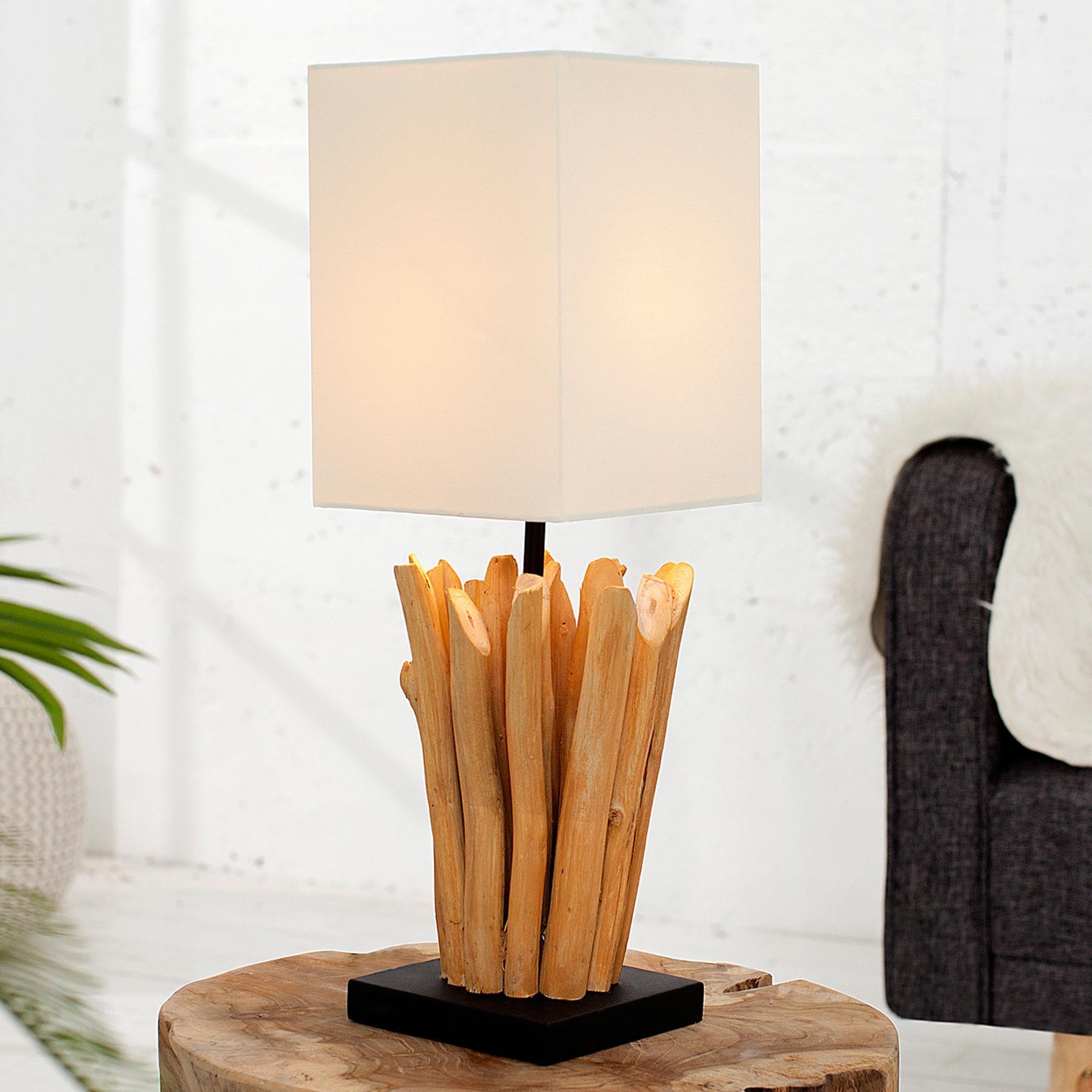 Leuchten Leuchtmittel Handgearbeitete Tischlampe Riverine 80cm Beige Holz Tischleuchte Wohnzimmerlampe Kabtel Mk