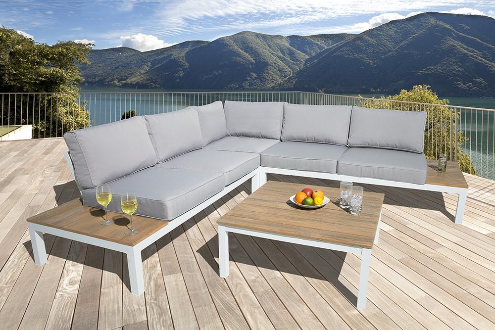 Garten Sitzgruppe MIAMI LOUNGE XL Weiß Grau Gartenmöbel