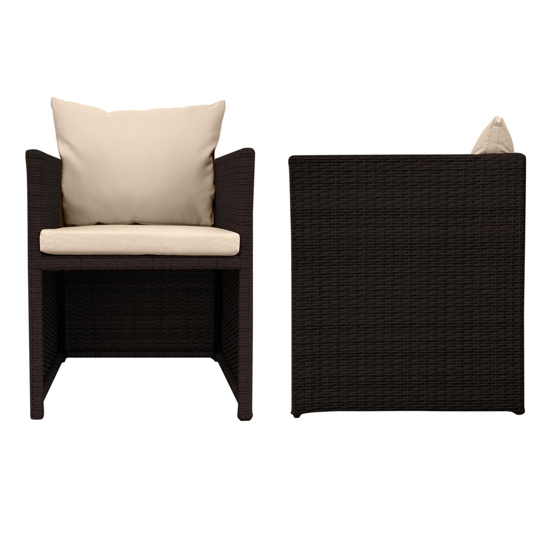 anndora polyrattan m bel set braun 1 gartentisch 2 gartensessel 2 hocker b ware ebay. Black Bedroom Furniture Sets. Home Design Ideas