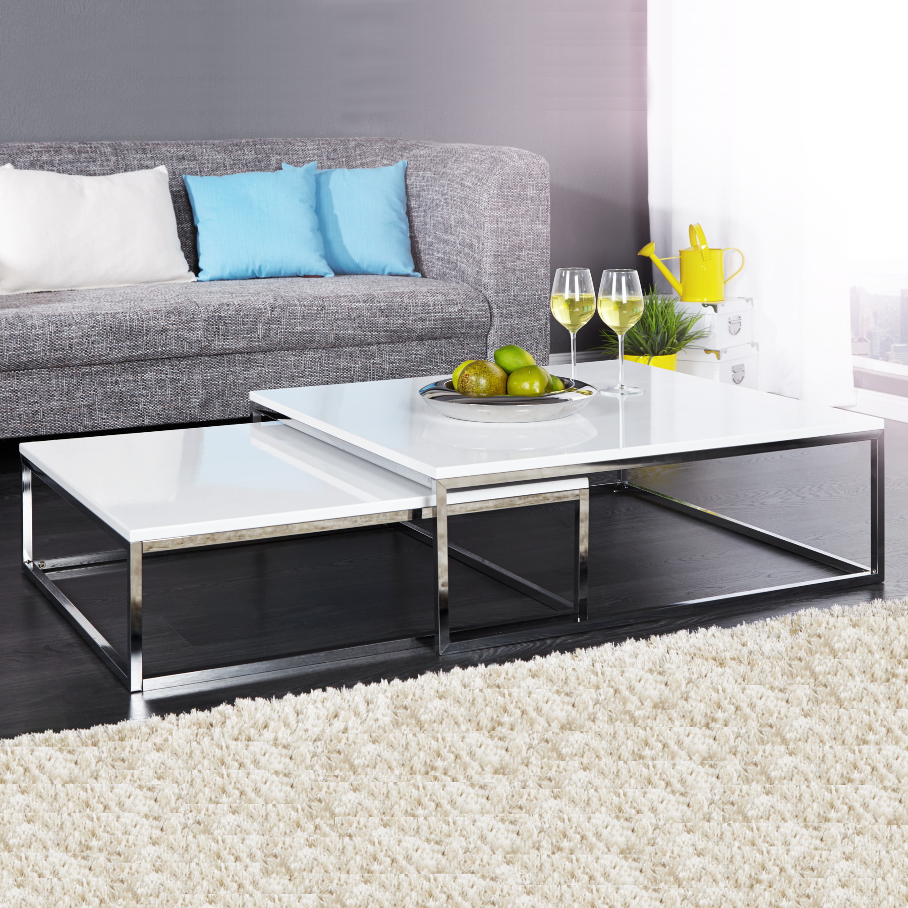 couchtisch 2er set big fusion hochglanz weiss beistelltisch wohnzimmertisch ebay. Black Bedroom Furniture Sets. Home Design Ideas