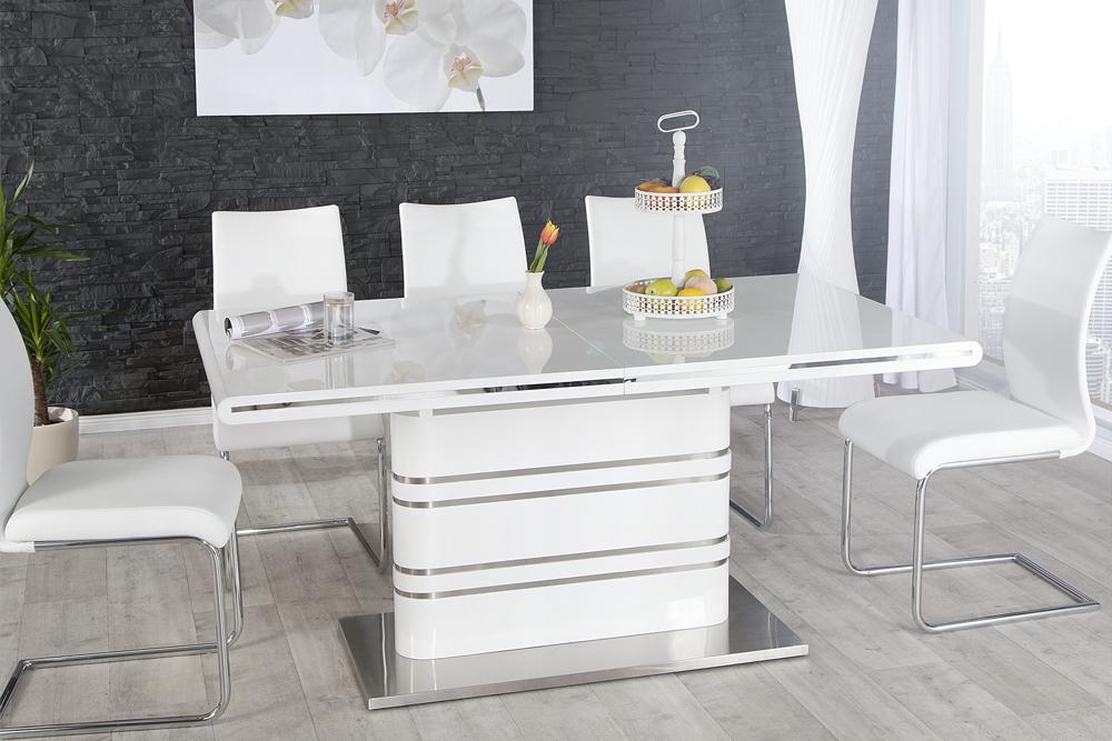 ausziehbarer design esstisch atlantis weiss hochglanz 160 220cm aluminium ebay. Black Bedroom Furniture Sets. Home Design Ideas