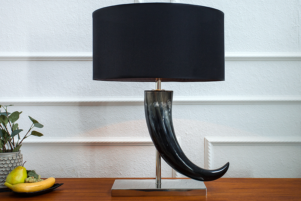 tischleuchte eleganz 65cm schwarz horn tischlampe a e27 lampe unikat ebay. Black Bedroom Furniture Sets. Home Design Ideas