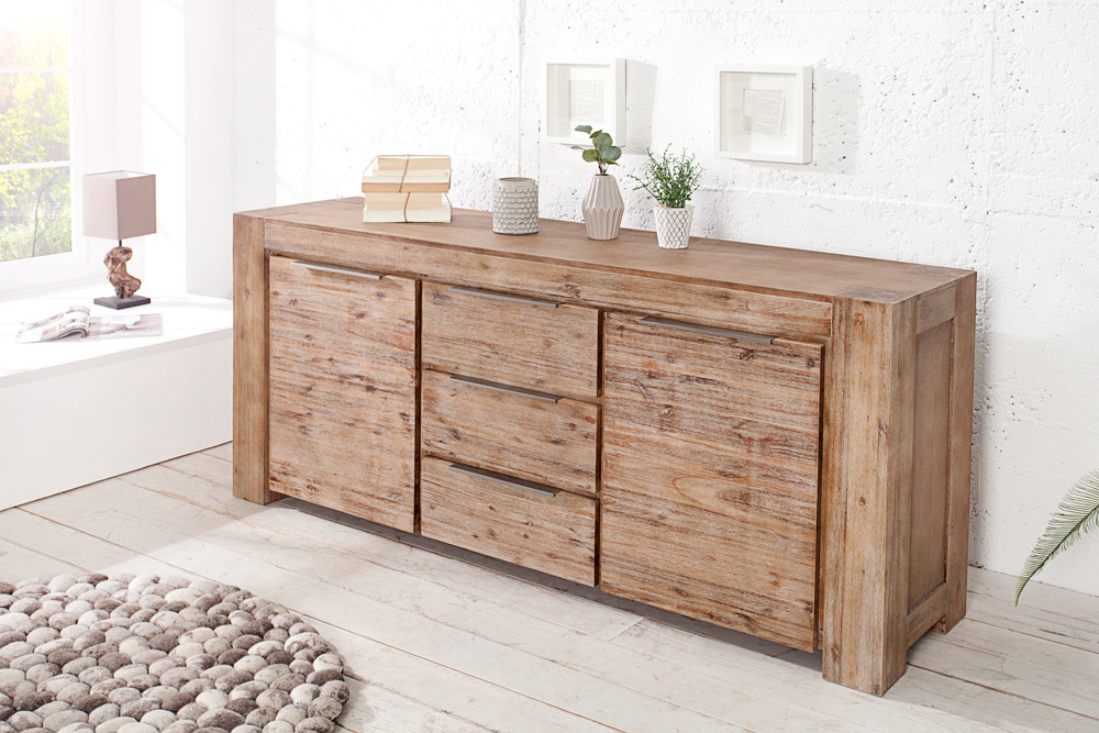 massives sideboard giant akazie teakgrau gek lkt 180cm massivholz kommode board ebay. Black Bedroom Furniture Sets. Home Design Ideas