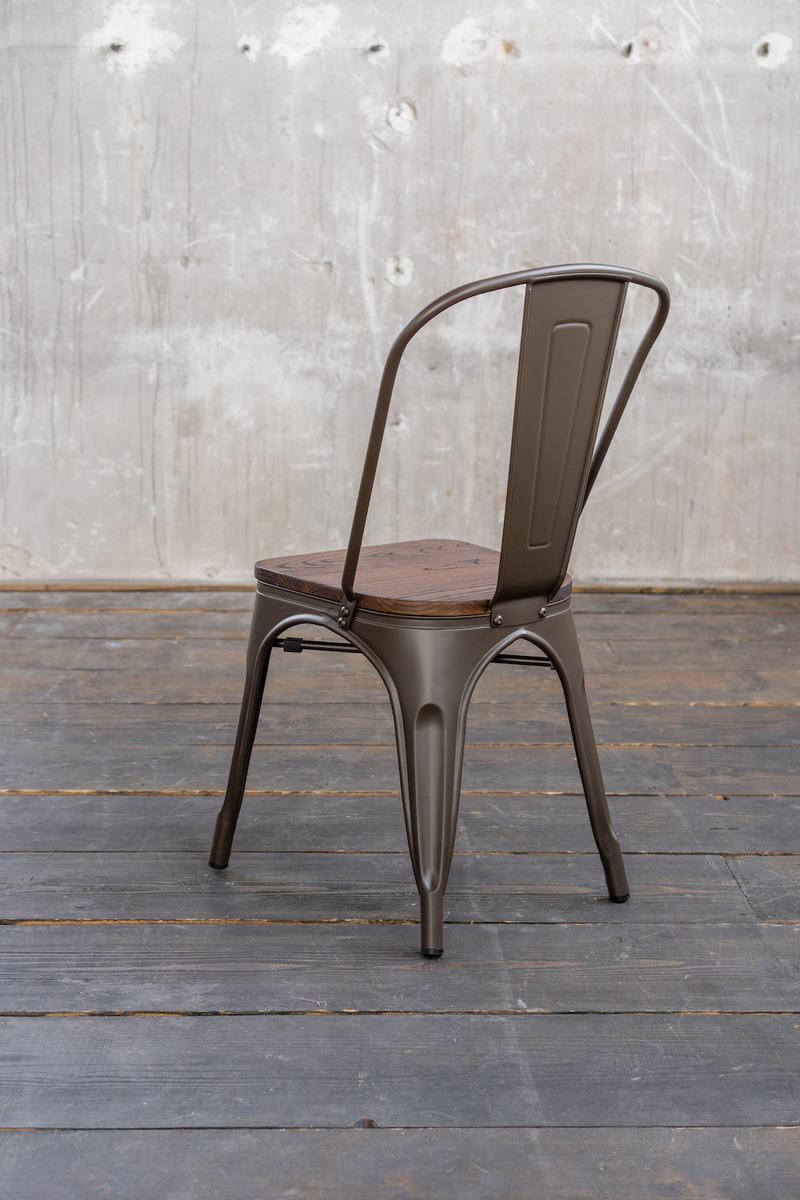 KAWOLA Esszimmerstuhl GERO Stuhl Metall Sitzfläche Holz Industrie Look