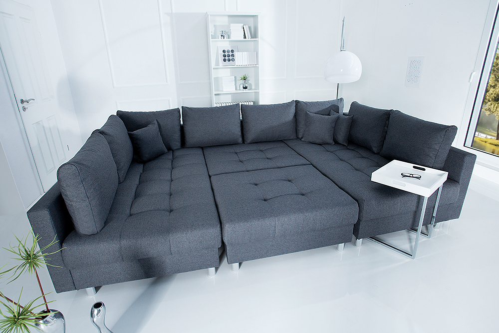 xxl wohnlandschaft kent 305cm anthrazit inkl hocker ecksofa u sofa federkern ebay. Black Bedroom Furniture Sets. Home Design Ideas