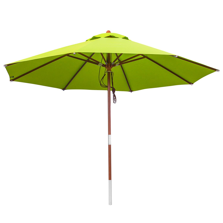 anndora sonnenschirm rund 3 5m 350cm schirm hell gr n holzschirm gartenschirm ebay. Black Bedroom Furniture Sets. Home Design Ideas