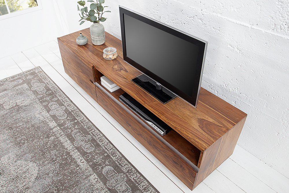 massives tv board fire earth ii 160cm sheesham holz lowboard schrank board ebay. Black Bedroom Furniture Sets. Home Design Ideas
