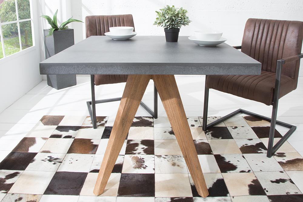 design esstisch cement akazie massivholz 90cm in und outdoor beton optik tisch ebay. Black Bedroom Furniture Sets. Home Design Ideas