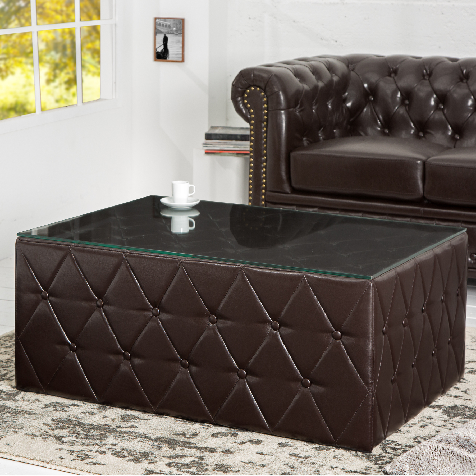 chesterfield couchtisch 100 cm hocker braun coffee glasplatte wohnzimmertisch 4250243567273 ebay. Black Bedroom Furniture Sets. Home Design Ideas