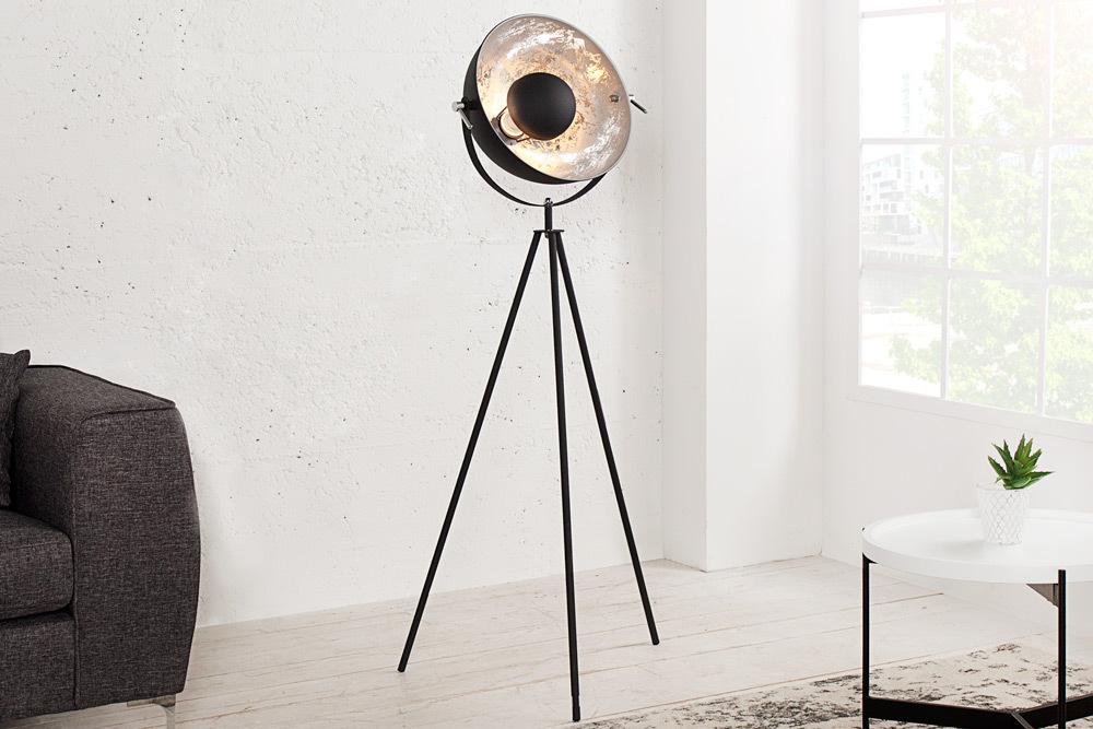 moderne design stehlampe studio schwarz silber 140cm stehleuchte lampe lampen ebay. Black Bedroom Furniture Sets. Home Design Ideas