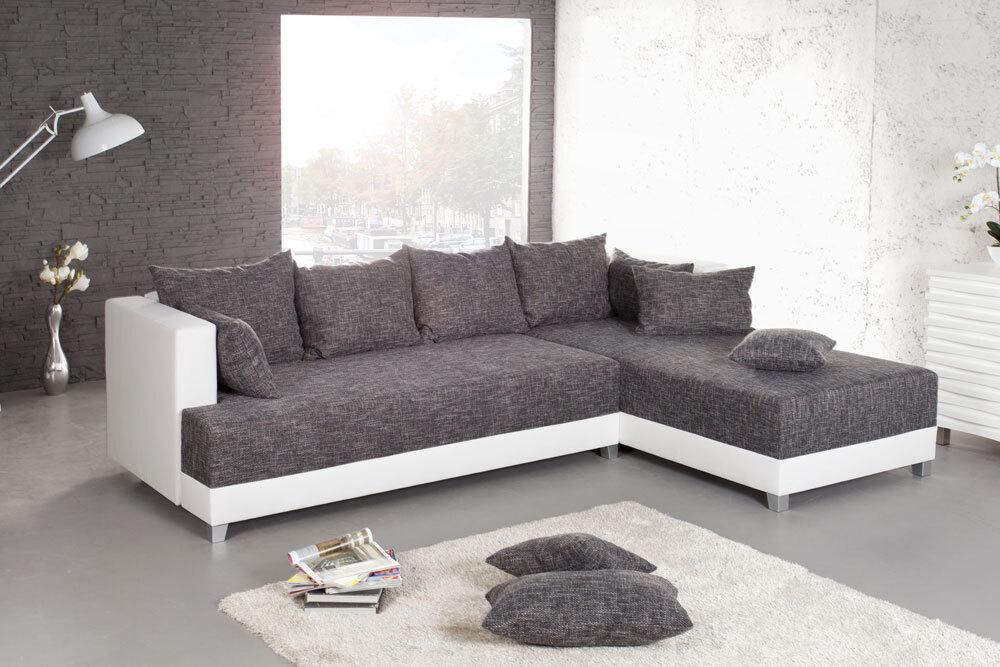 Design Ecksofa Star Strukturstoff Grau Wei Schlafsofa Bettkasten Couch Sofa Ebay