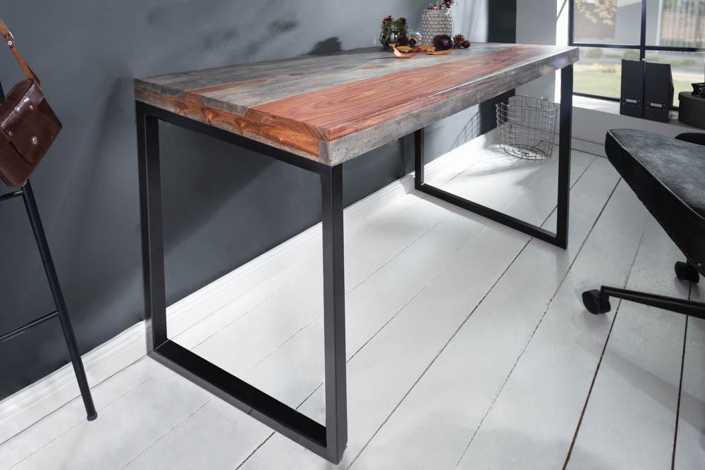 Design Schreibtisch ELEMENTS 118cm Sheesham Smoke Finish Metallgestell Bürotisch