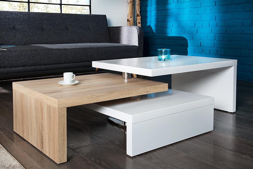 Details zu Design Couchtisch HIGHCLASS hochglanz Lack weiss Sonoma Eiche  Wohnzimmertisch