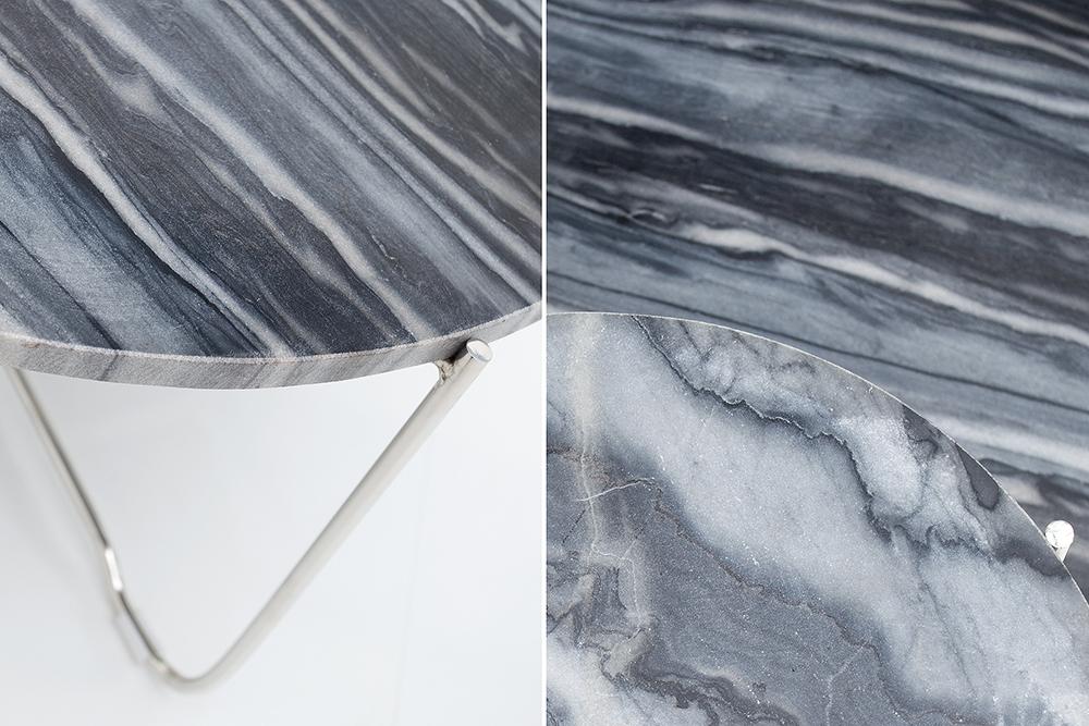 Exklusiver couchtisch noble marmor grau beistelltisch for Marmor wohnzimmertisch