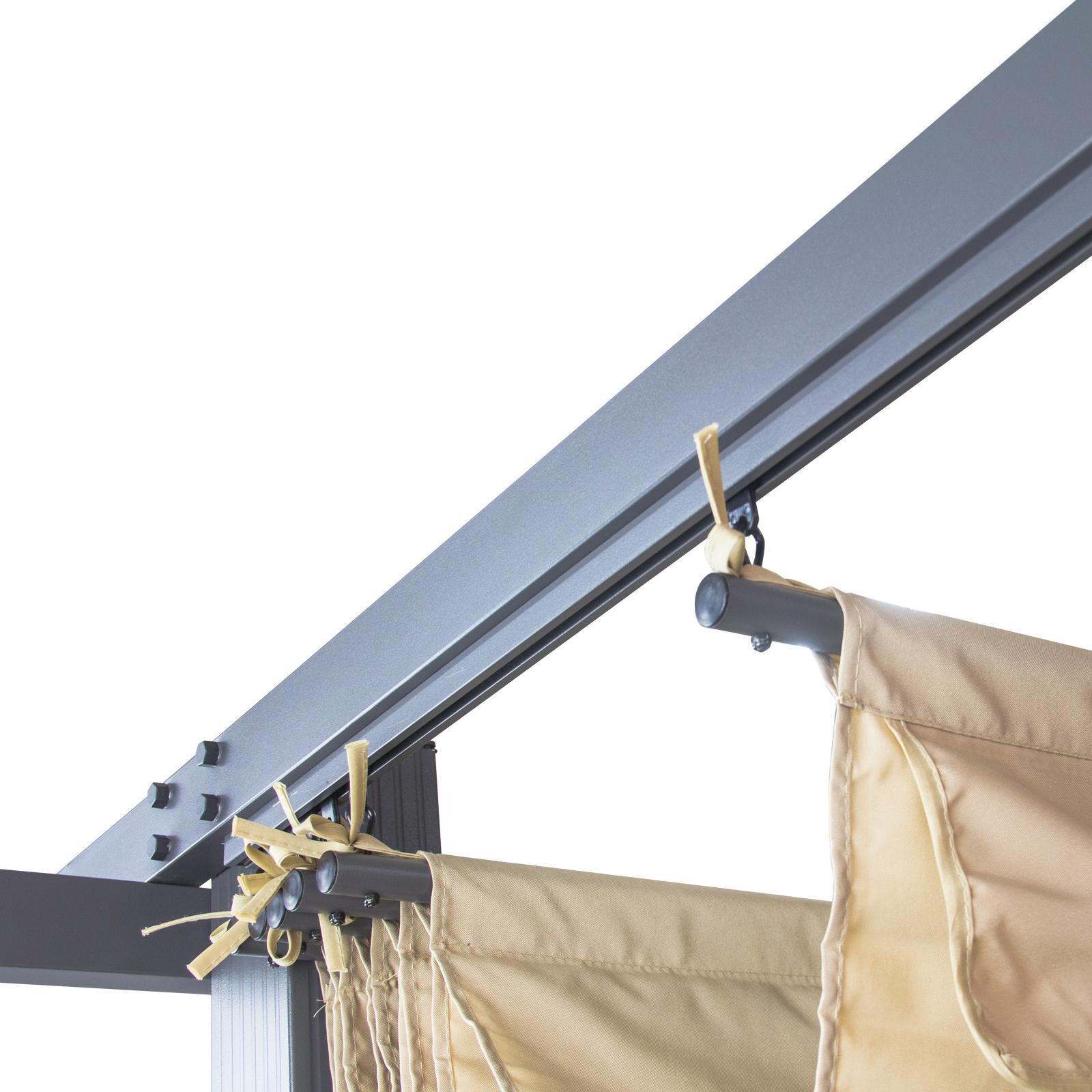 alu pergola sonnenschutz berdachung freiburg beige mit sonnendach 296x296 cm ebay. Black Bedroom Furniture Sets. Home Design Ideas