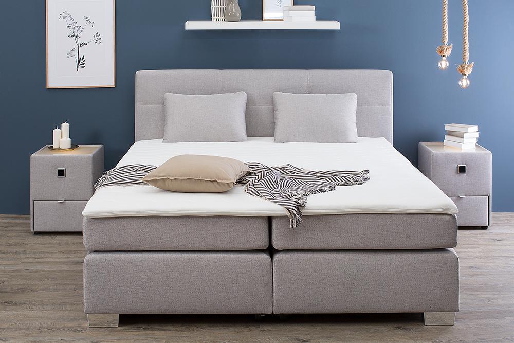zeitloses boxspringbett lyon 180x200 cm grau beige inkl matratze und topper ebay. Black Bedroom Furniture Sets. Home Design Ideas