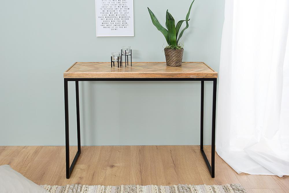 moderner konsolentisch fusion 102cm mangoholz eckig natur. Black Bedroom Furniture Sets. Home Design Ideas