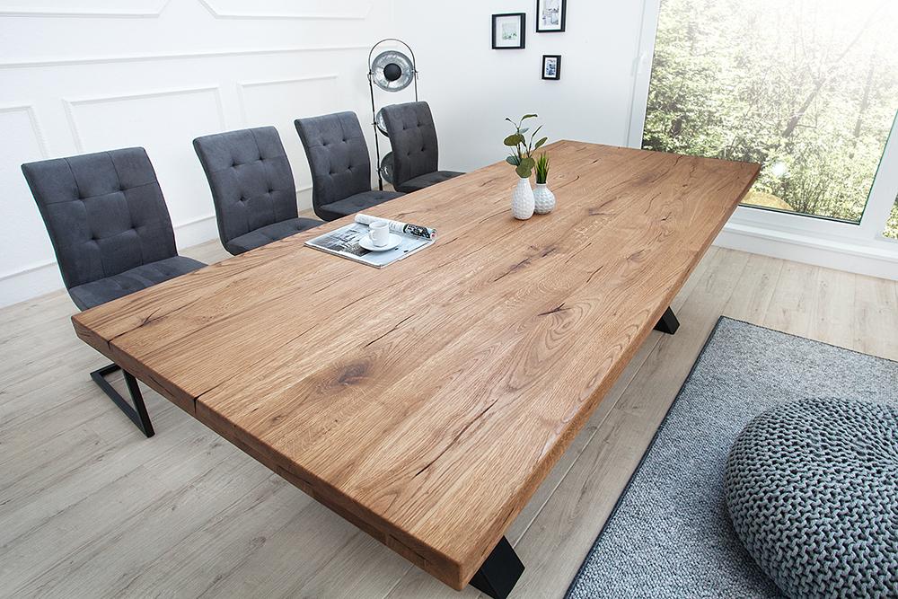 Massiver Esstisch THOR 240cm Wild-Eiche geölt Industrial Look Tisch ...