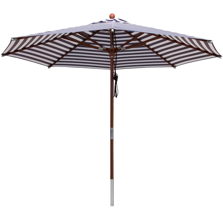 anndora Sonnenschirm 3m rund gestreift blau weiß Gartenschirm Balkonschirm