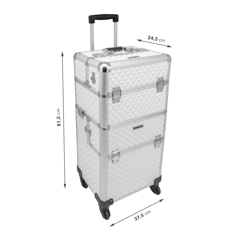 trolley mit abnehmbaren beauty case 4 rad pilotenkoffer wei alu b ware 4260384738739 ebay. Black Bedroom Furniture Sets. Home Design Ideas